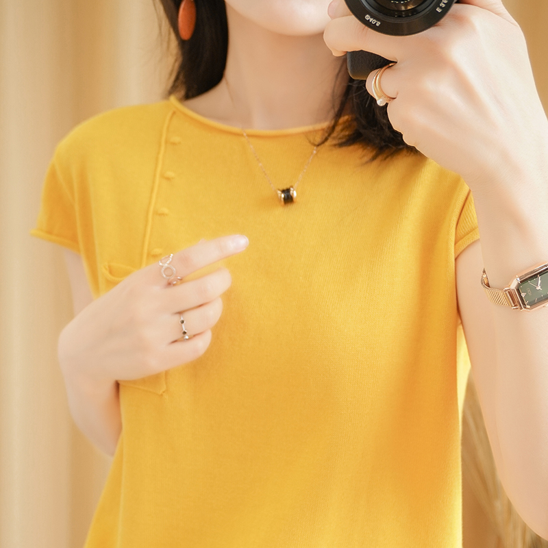 Summer new solid color short sleeve womens knitted round neck Pullover Korean loose and versatile T-shirt half sleeve