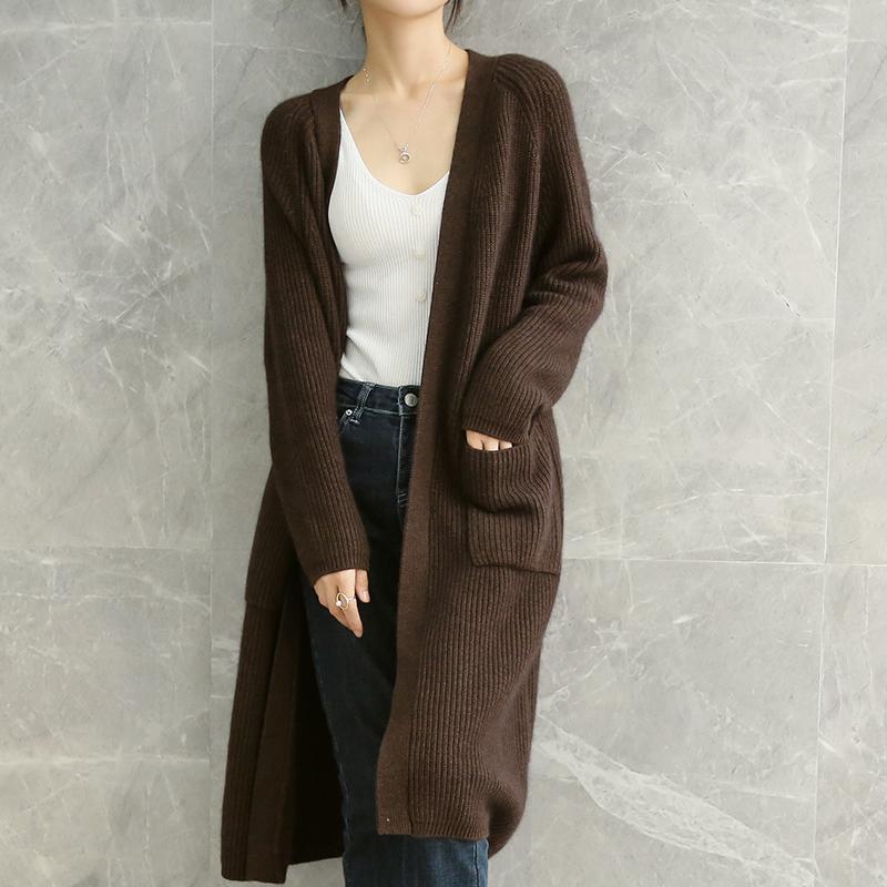 20新款韩版时尚长款羊毛衫加厚针织开衫女休闲慵懒羊绒毛衣外套