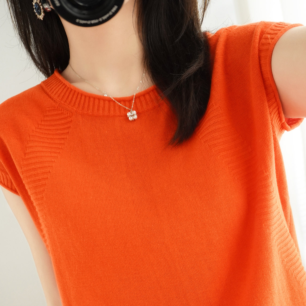 2020 new pure cotton knitted thin short sleeve T-shirt womens round neck loose and simple hollow out Pullover Top