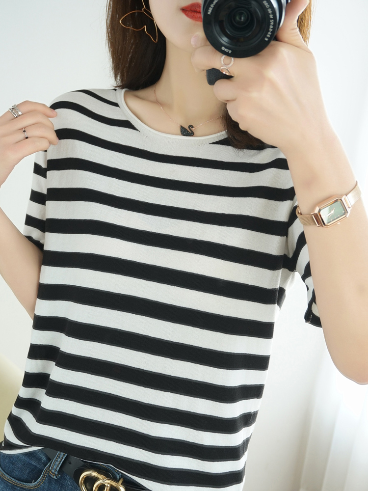 Ice silk short sleeve womens stripe spring and summer new round neck bottomed knitted net red cute T-shirt ins wind, sweat absorption and non-contact body