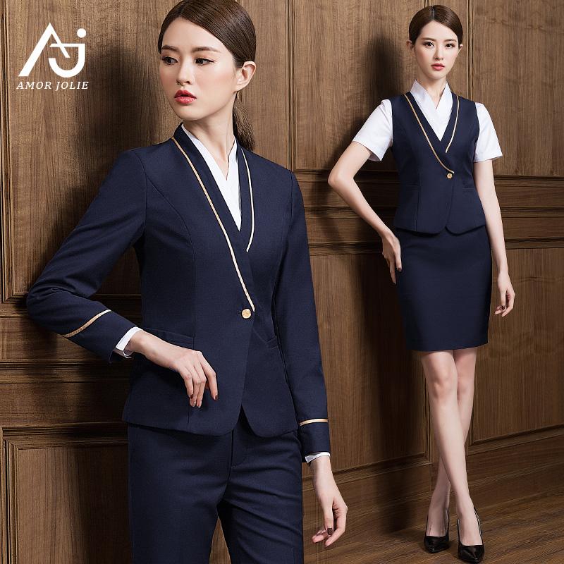 空姐制服女南航面试前台高铁工作服美容院售楼工装职业西装裙套装