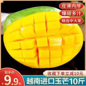 越南进口玉芒10斤芒果现摘新鲜水果当季特大青皮甜心忙整箱5包邮