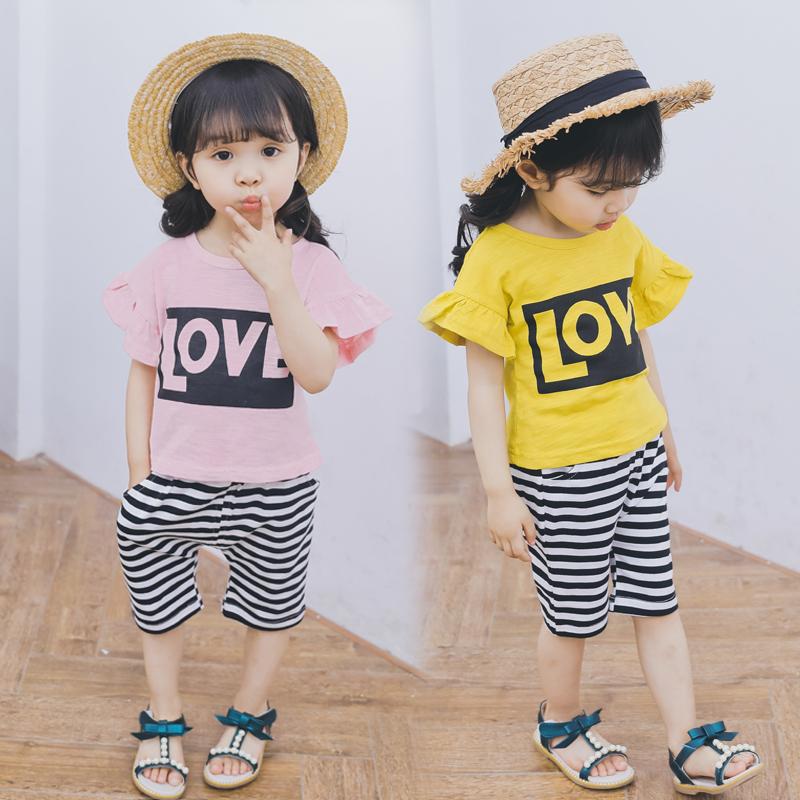 女宝宝夏装套装0-1-2-3岁韩版潮2018新款女童短袖纯棉t恤两件套夏
