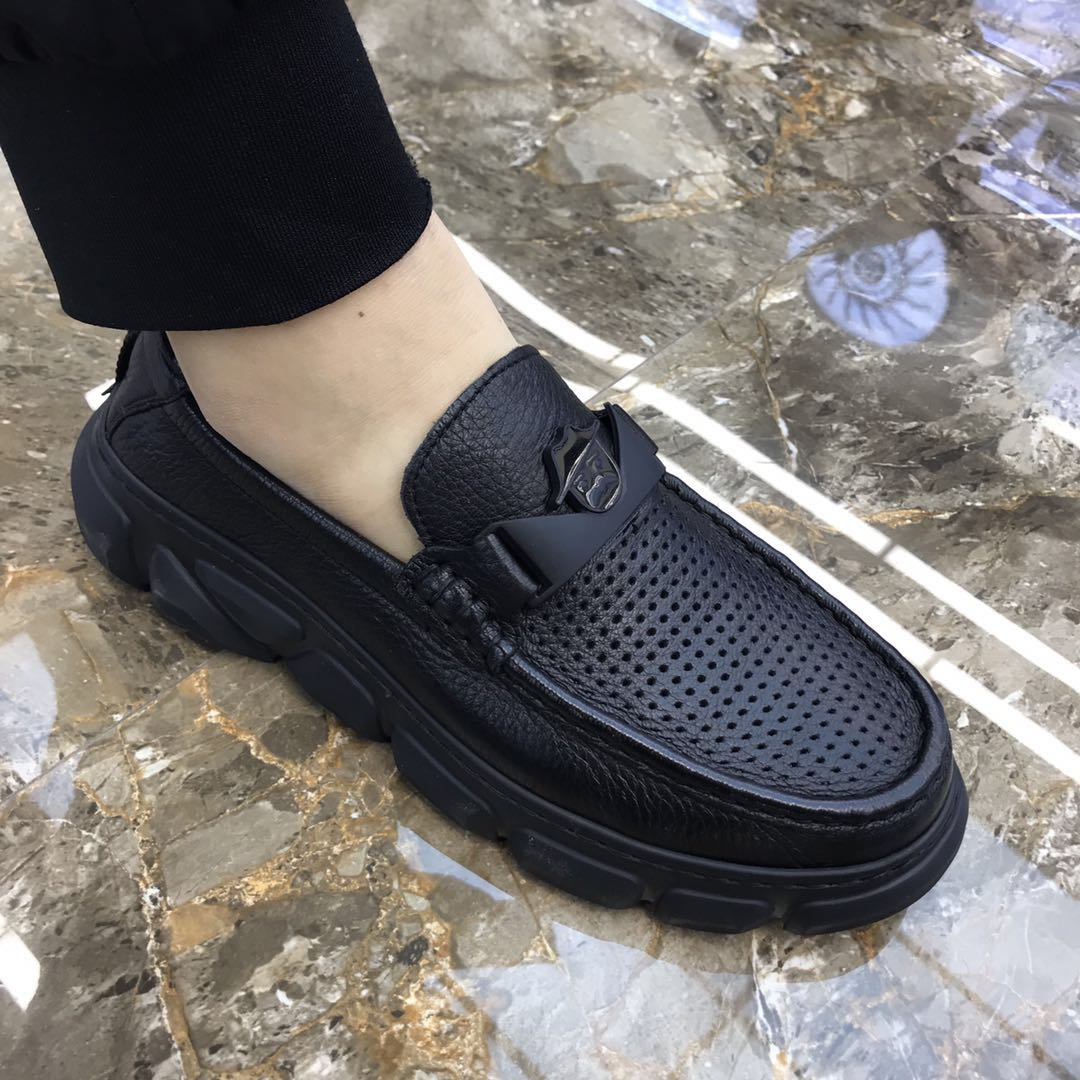Summer 2020 new fashion leather mens business casual leather shoes factory direct selling deerskin thick soled breathable sandals