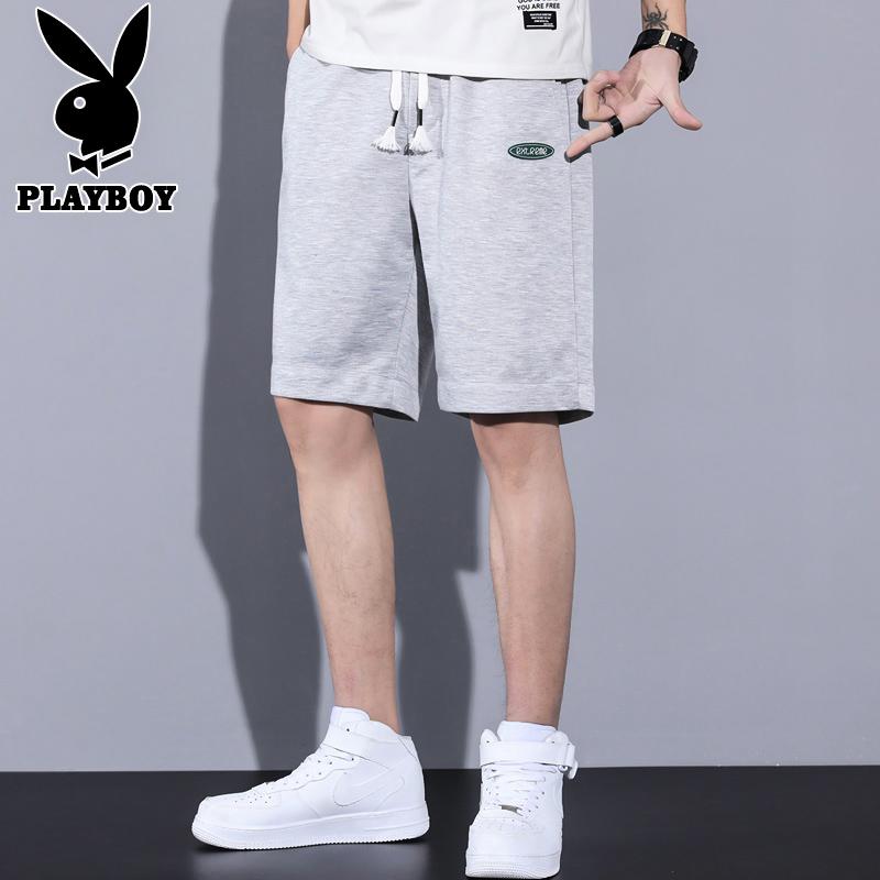 Playboy knee length shorts mens summer Korean fashion loose casual pants