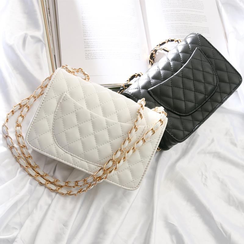 菱格鏈條包斜挎包小包包女2019新款小香風包包時尚百搭單肩小方包