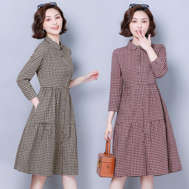 11月25日最新优惠小个子连衣裙2019秋季格子宽松遮肚时尚气质大码桔梗甜美纯棉裙子
