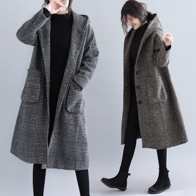 大码女装胖妹妹mm减龄格纹连帽中长款毛呢外套女大衣秋冬新款2020