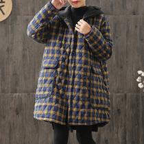 秋冬季大码胖妹妹mm棉衣外套宽松中长款夹棉加厚格子棉服女200斤