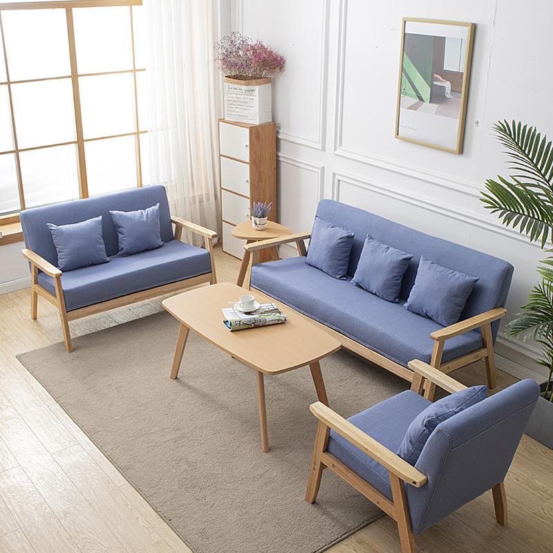 单人沙发椅小户型出租房屋卧室洽谈家用布艺木简约现代北欧双人椅