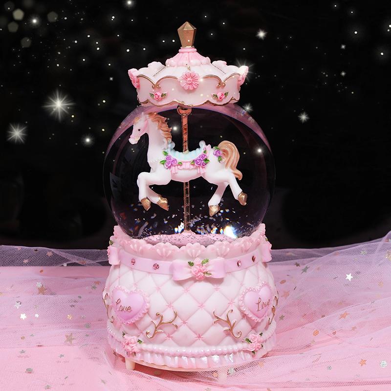 旋转木马水晶球公主生日礼物音乐盒少女飘雪男女孩女生儿童八音盒