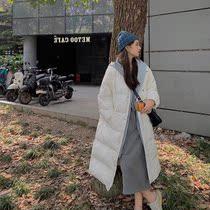 反季女装半糖主义假两件外套2021冬季连帽羽绒棉服女中长款过膝潮