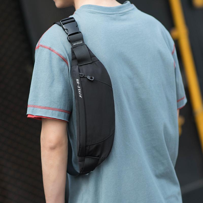 HK男士腰包潮牌休闲单肩斜挎包多功能小型轻便胸包运动跑步手机包
