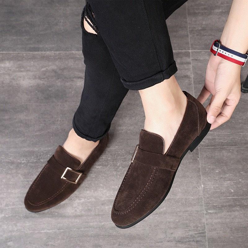 一脚蹬懒人豆豆鞋男韩版社会小伙百搭休闲皮鞋男士尖头潮鞋子加绒图片