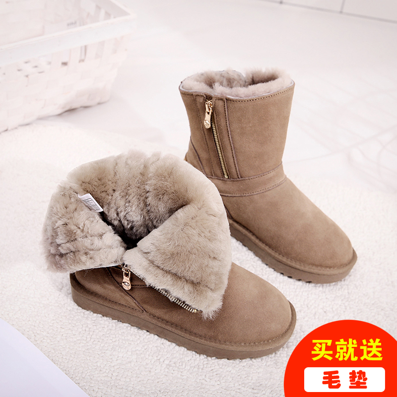2020 winter new snow boots womens Sheepskin Fur integrated middle tube boots thickened warm anti slip zipper wet cotton shoes