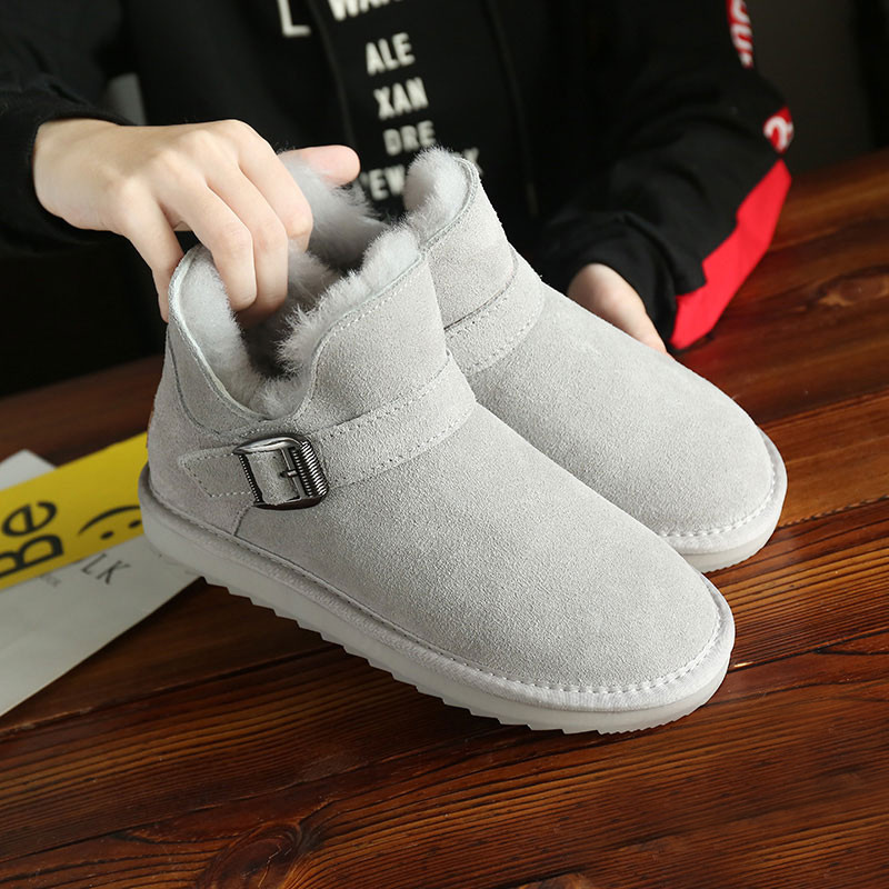 Buckle fur integrated snow boots womens leather short tube pregnant womens cotton shoes bread shoes wool short boots antiskid naked boots