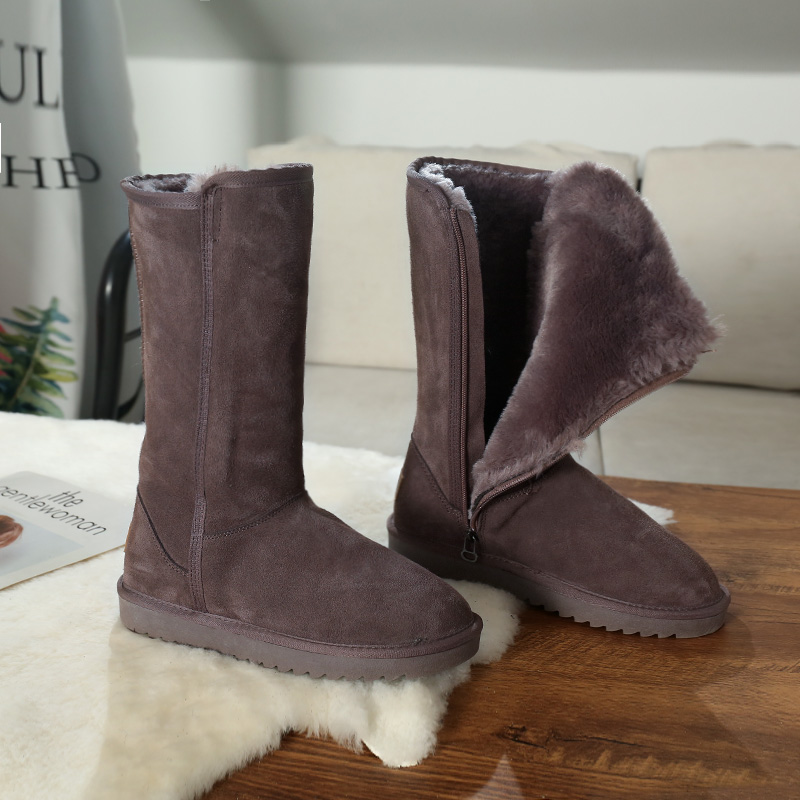 Cowhide snow boots womens high boots 2020 new side zipper cotton boots winter plush leather thickened long boots