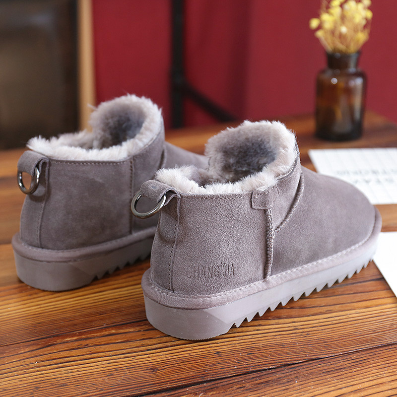 2020 winter new snow boots womens leather short tube versatile warm and antiskid cotton shoes