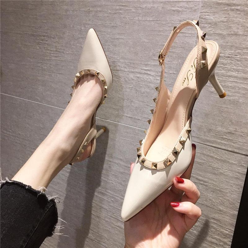 2021夏季新款小清新性感包头铆钉凉鞋尖头细跟网红法式少女高跟鞋
