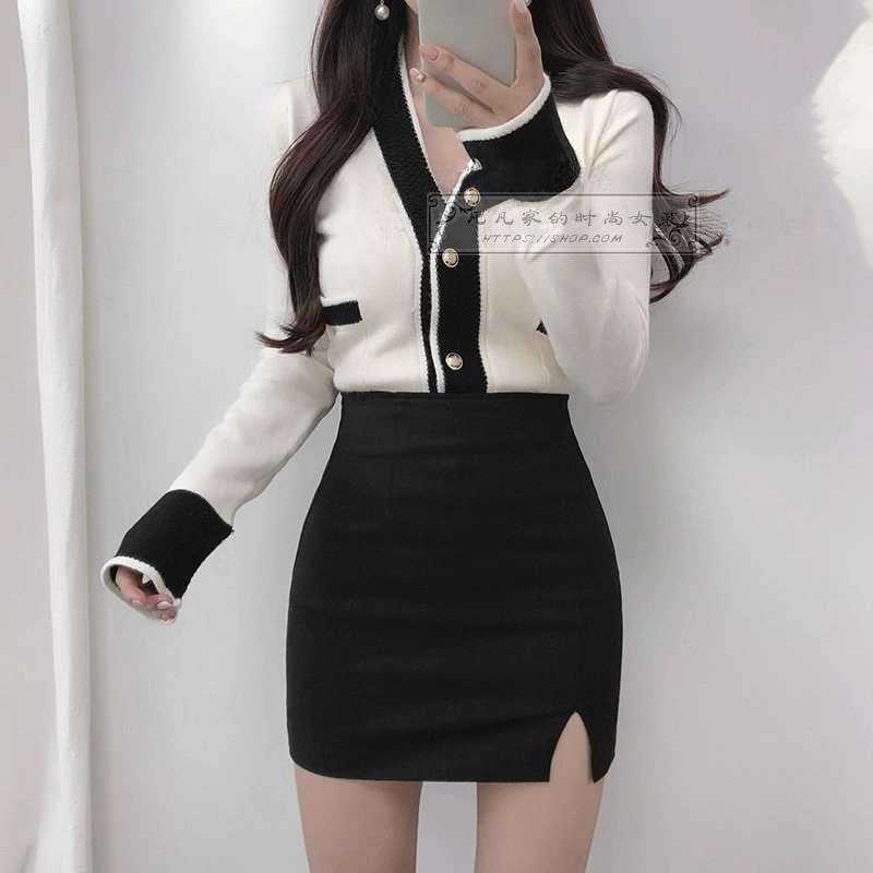 2019夏秋新款韩版黑色高腰包臀裙显瘦侧开叉工装日式半身裙短裙女
