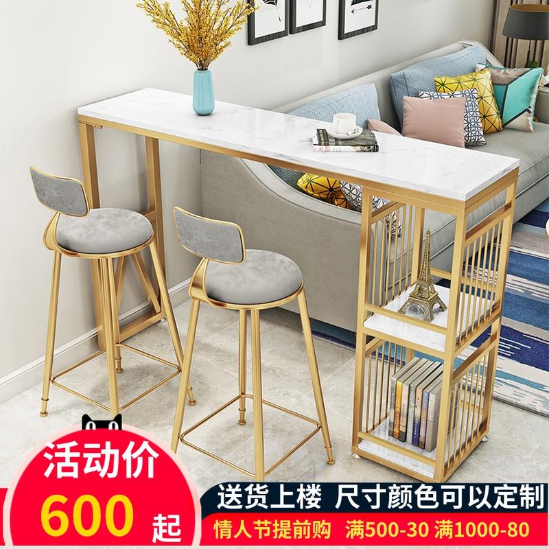 家用大理石小吧台桌简约阳台靠窗桌靠墙长条桌奶茶店高脚桌椅组合