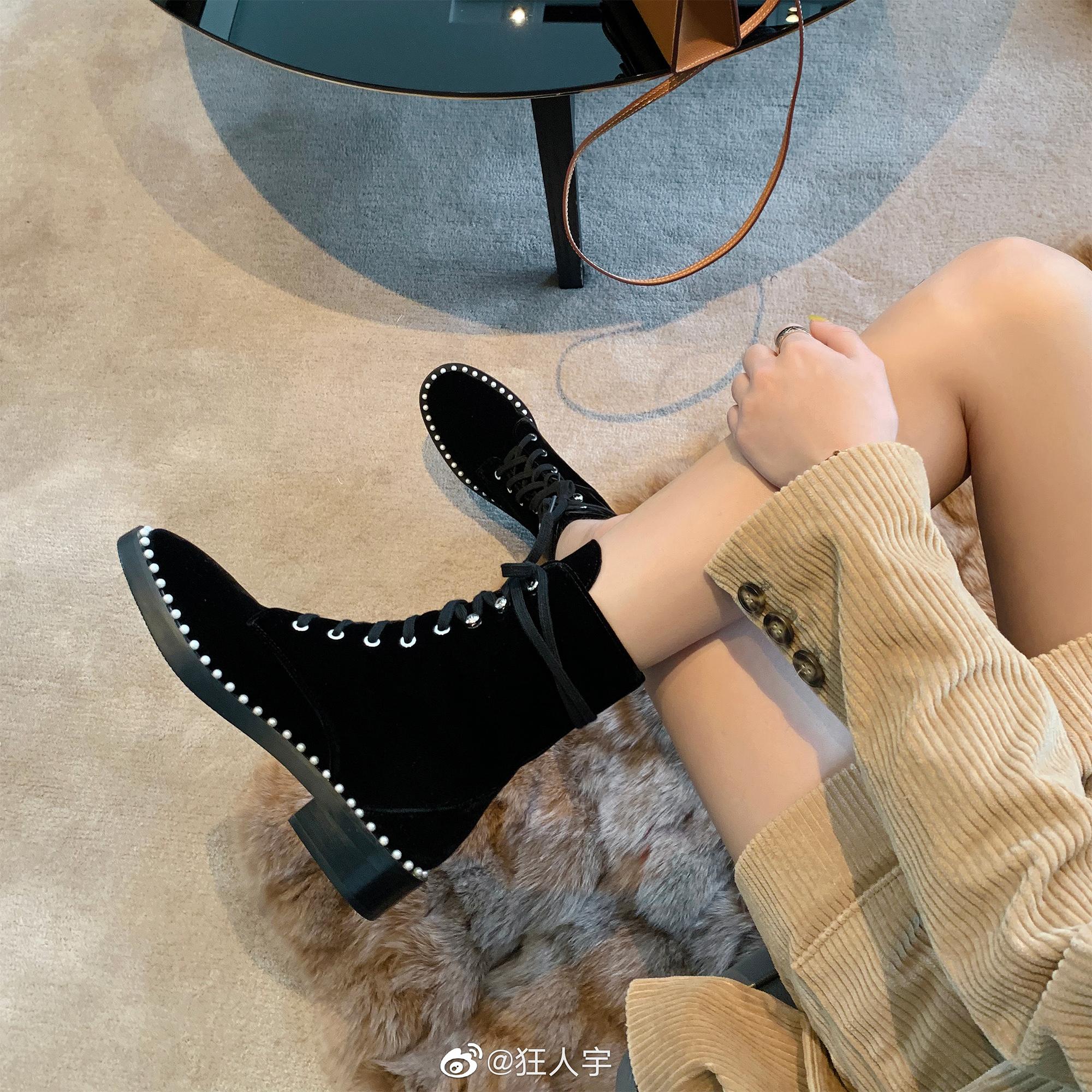 限时抢购狂人宇珍珠女帅气英伦风厚底马丁靴