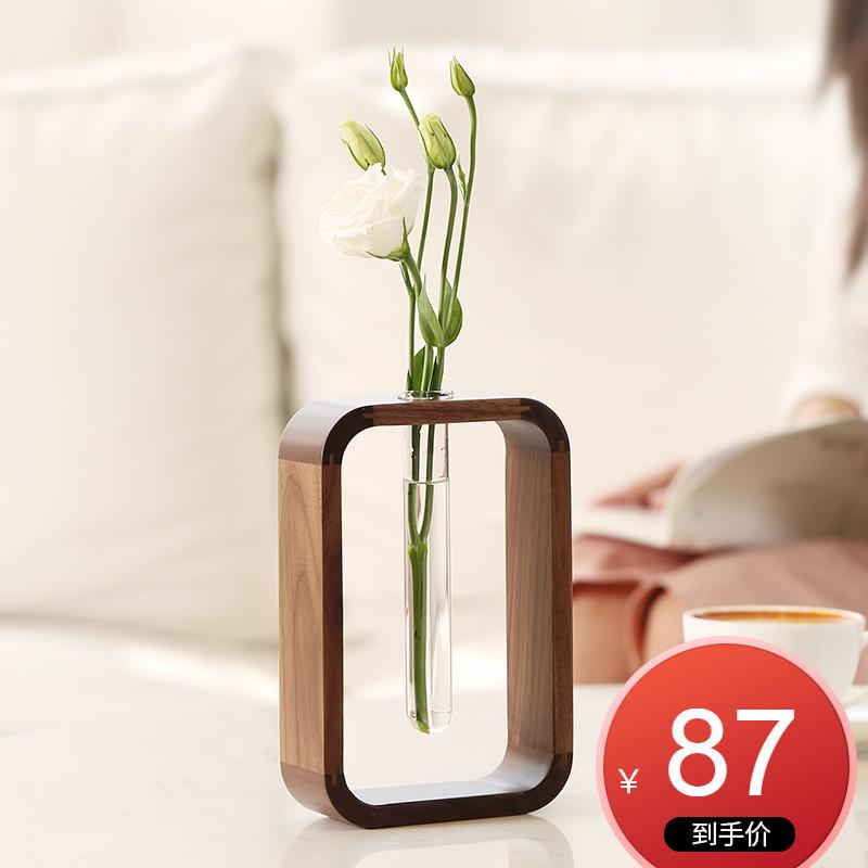 花器禅意日式花瓶干花装饰小摆件插花现代简约客厅家居饰品实木