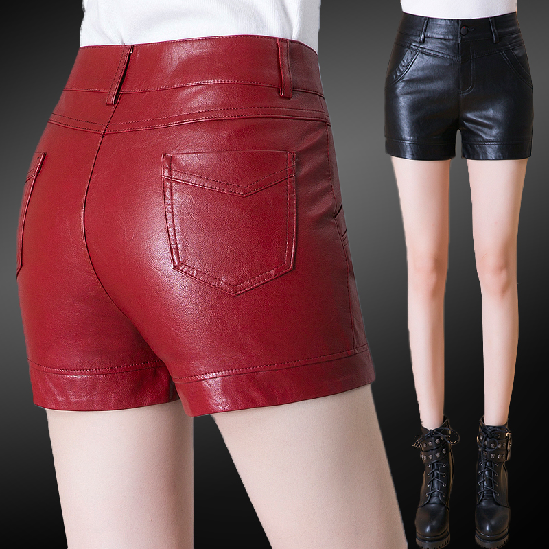 Short womens spring and autumn wear Plush Pu short leather pants