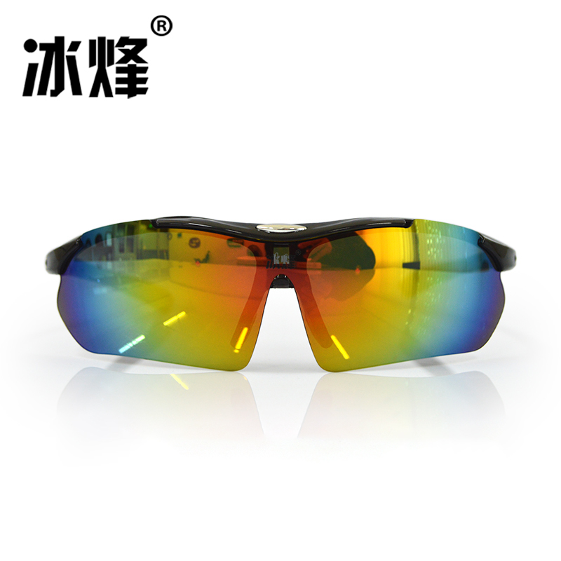 Bingfeng bfj019 bicycle running and riding glasses lens with silver plating, dazzle color, color change and polarized light