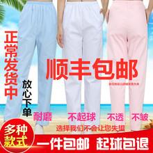 护士裤冬夏季薄白色裤子松紧西裤腰医生工作孕妇白大褂护士服短袖
