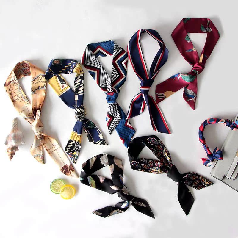 韩国夏季女士包包细窄领带小丝巾装饰绑长条丝带手带领巾围巾飘带