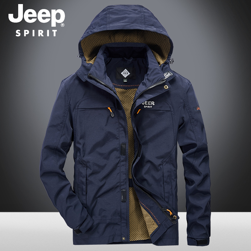 Jeep jacket mens fall 2020 new mens sports outdoor leisure loose hooded jacket upper clothes mens wear