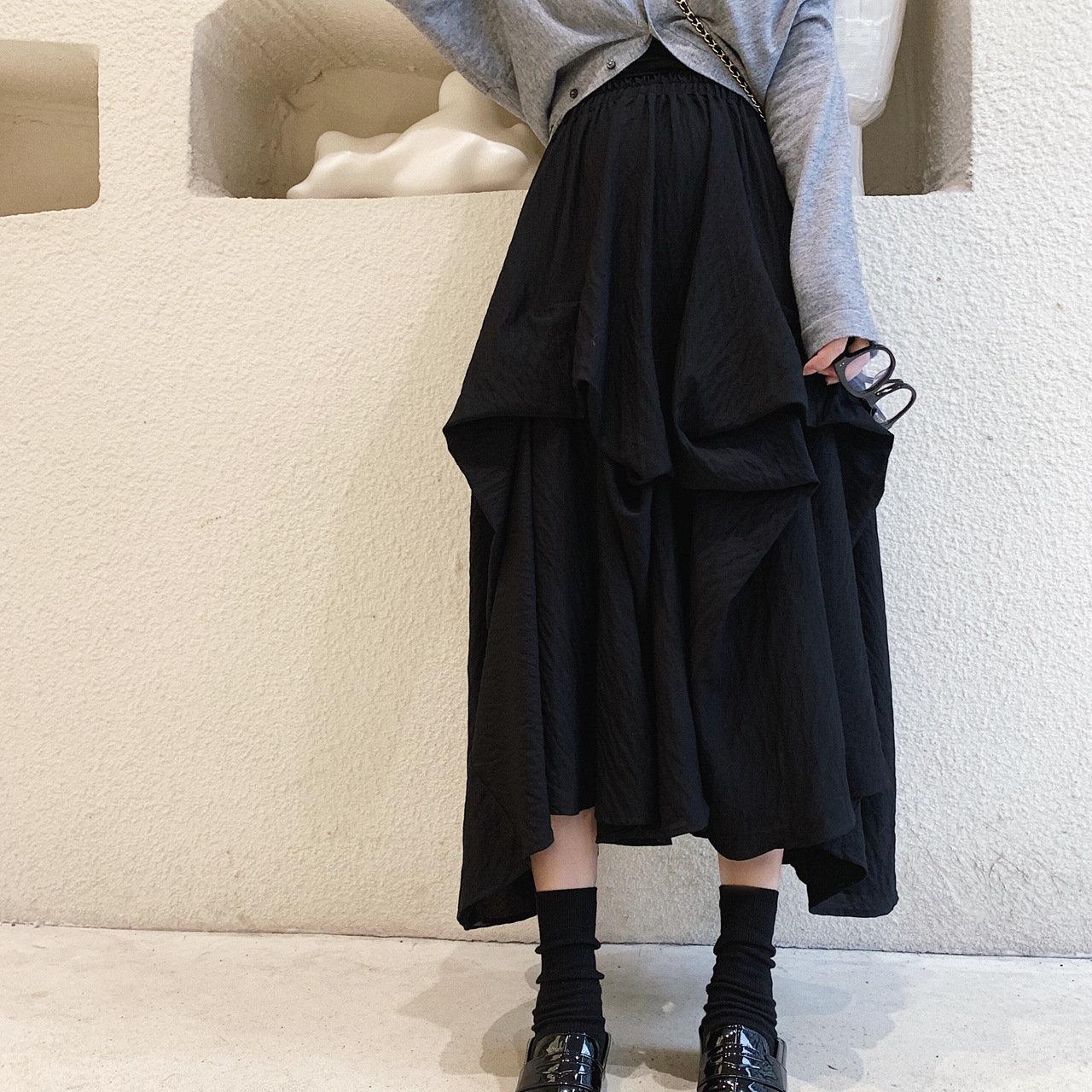 2021 纯色通勤新款小黑裙山本裙子高弹褶皱高腰设计A字半身裙女