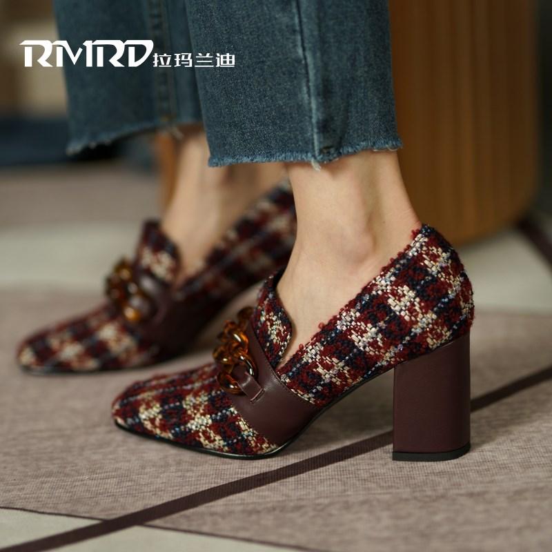 时尚深口单鞋女2020新款复古格子纹漂亮高跟鞋圆头链条粗跟女鞋子