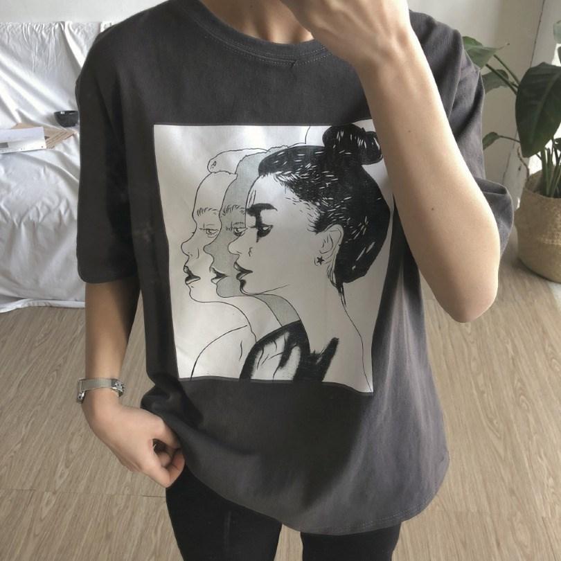 3重影头像2018年春夏季新款女装韩版宽松女士式大码短袖T恤打底衫