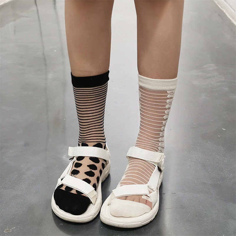 买三送一ins高级感线条圆点艺术ab中筒袜