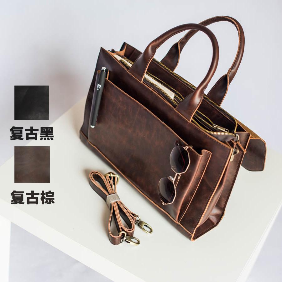 British business briefcase file case computer bag Japanese retro college style portable postman bag Unisex