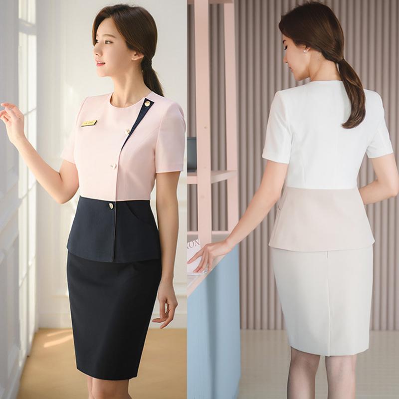 新款夏季微整形医院前台职业女裙套装美容院收银化妆专柜导购工服