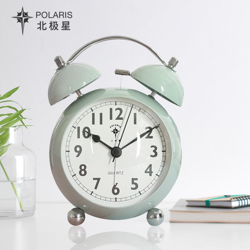 北极星学生小闹钟儿童钟表创意金属床头钟时尚简约静音大闹铃夜灯