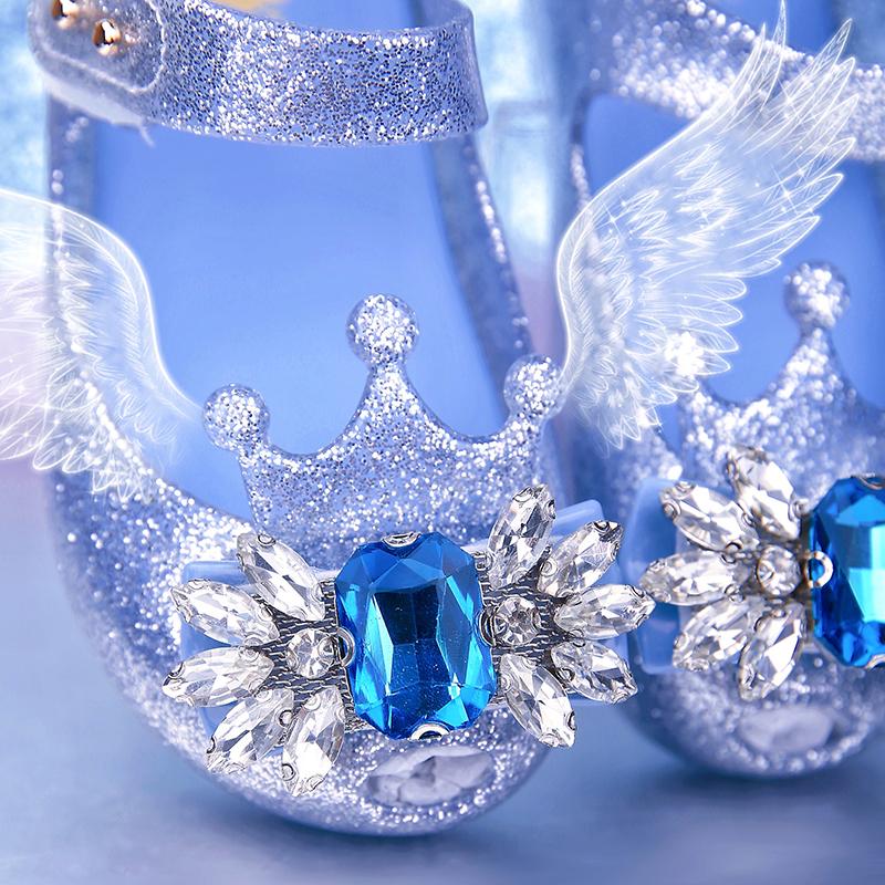 艾莎爱莎女童果冻鞋公主鞋皇冠水晶宝石鱼嘴软底凉鞋包头鞋子闪片