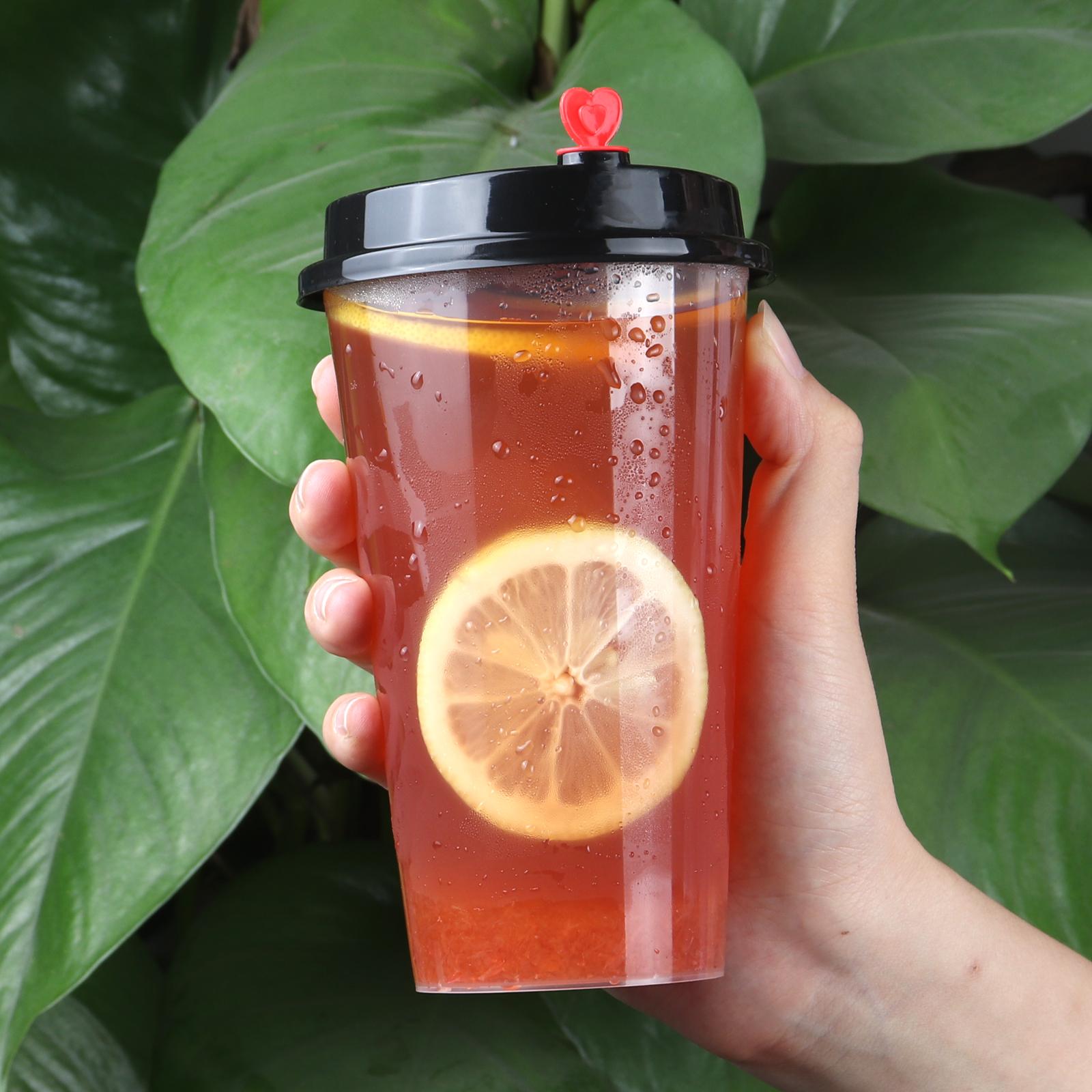 一次性注塑杯���w高透PP�料杯加厚奶茶杯90打包冷�杯500ml700ml