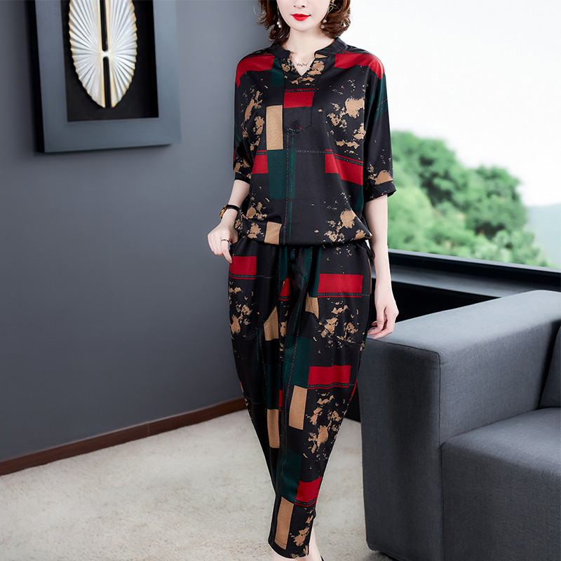 大码女装2020夏新款韩版时尚休闲洋气哈伦裤套装气质两件套