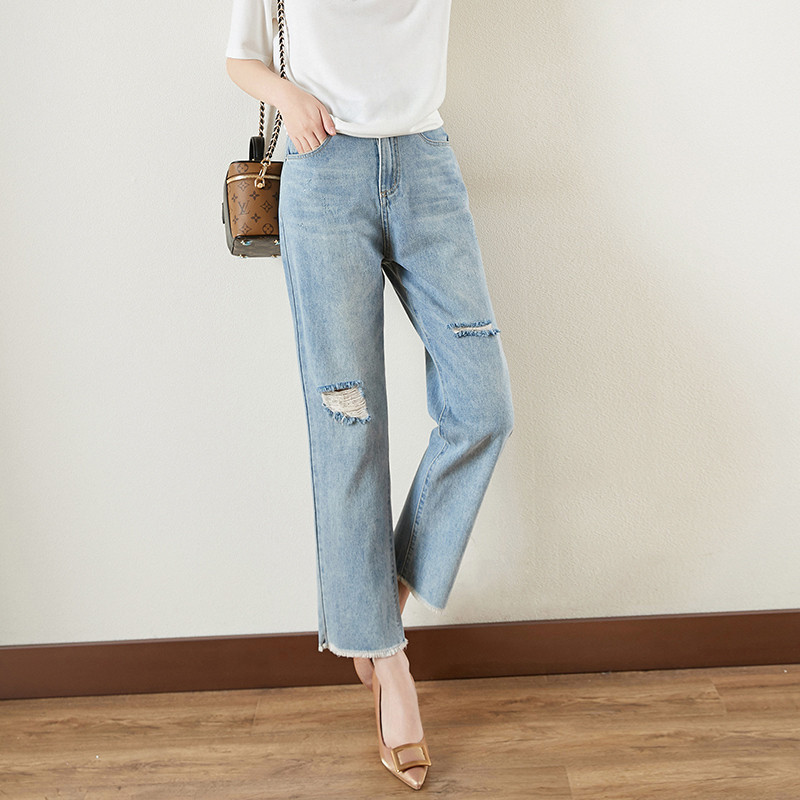 Try the small straight tube jeans with slim and fashionable wash twill holes