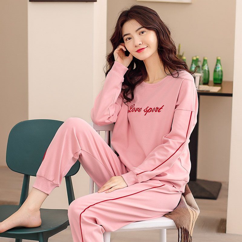 Autumn and winter young womens cotton loose pajamas long sleeve elastic corset home suit can wear combed cotton