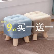 小凳子家用板凳創意矮凳可愛布藝換鞋沙發凳ins網紅客廳實木方凳