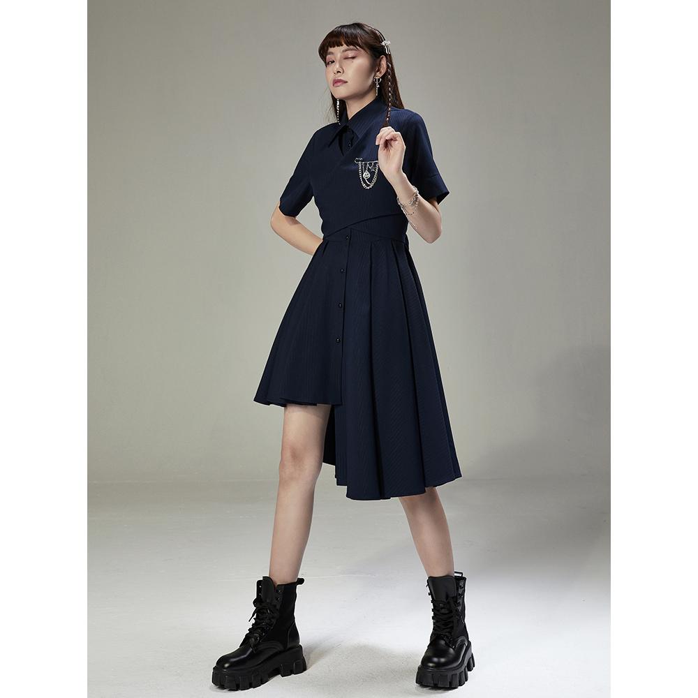 UNDORABLE原创设计师小众 学院风polo衬衫裙不规则收腰修身连衣裙