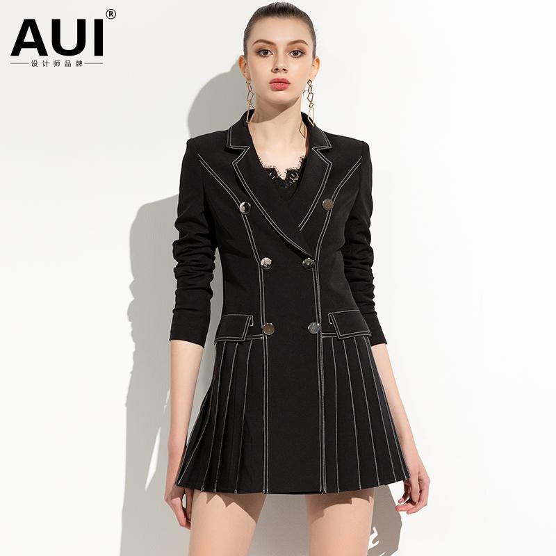 券后479.00元欧洲站2019新款女装秋装欧货黑色西装领洋气时尚气质外套式连衣裙