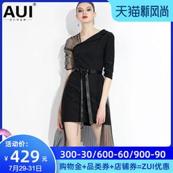 欧洲站2021年春装新款欧美风女装欧货潮黑色洋气时尚设计感连衣裙