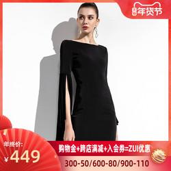 欧洲站2020新款时尚潮流女装轻熟风气质女神范洋气黑色连衣裙女夏