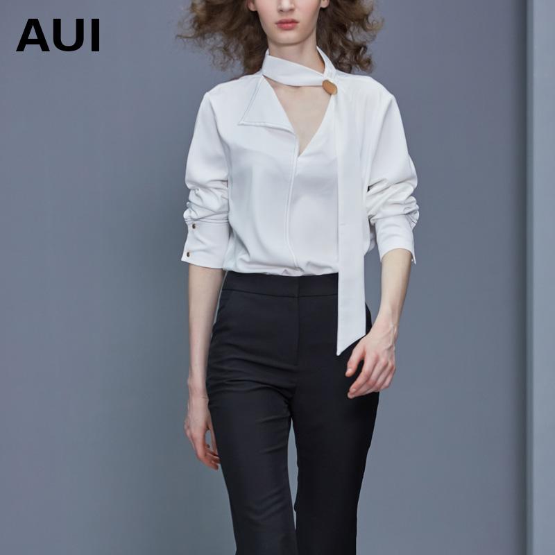 aui2020新款原创轻熟洋气外穿上衣白色衬衫女设计感小众飘带衬衣